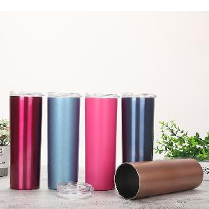 20 oz straight stainless steel sublimation blanks skinny tumblers straws water wine tumbler cups with slide lid