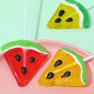 Sweet and sour watermelon shaped flavors hard candy lollipop