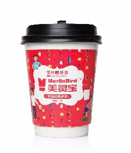 Disposable custom logo printing paper cup bottom tea with lid of longan and red dates