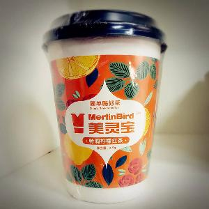 Instant Cup Tea with Cup Lid of Flavor of Lemon Black Tea