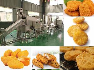 Fish chicken nugget production line | nugget frying machine