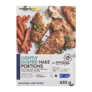 Frozen Lightly  Dust ed Hake Portions 450g/Crumbed Hake Fish Cakes 300g/Frozen Tempura Hake Portions 6