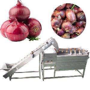 Automatic Brush Root Vegetable Peeling Machine Onion Washing Cleaning Machine